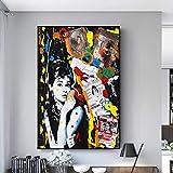 WKHRD Graffiti Art Audrey Hepburn Lienzo Pintura Carteles e Impresiones Cuadro de Arte de Pared para la decoración del hogar de la Sala de Estar - 60x80 cm (sin Marco)