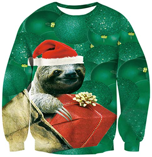 Unisex Ugly Christmas Sweatshirt 3D Printed Fancy Sloth with Red Hat