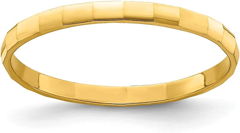 14k Yellow Gold Bamboo Texture Wedding Ring Band Childs Size 3.00 Toe Fine Jewelry For Women Gifts For Her