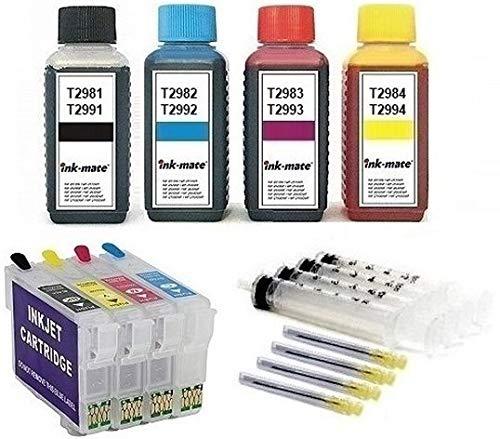 Cartucce ricaricabili auto reset come T29 XL + inchiostro da 400 ml per Expression Home XP-332, XP-335, XP-342, XP-345, XP-352, XP-355, XP-432, XP-435, XP-442, XP-445, XP-452, XP-455