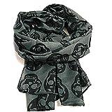 KUSTOM FACTORY - Pañuelo para mujer, diseño de calavera, gris y negro, 50 x 160 cm