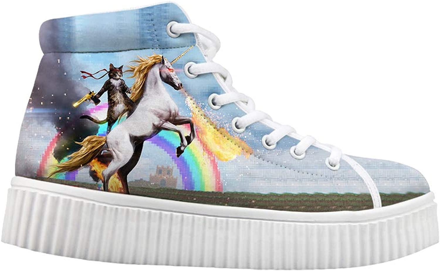 Owaheson Platform Lace up Sneaker Casual Chunky Walking shoes Women Fantasy Cat Unicorn Rider Fighting