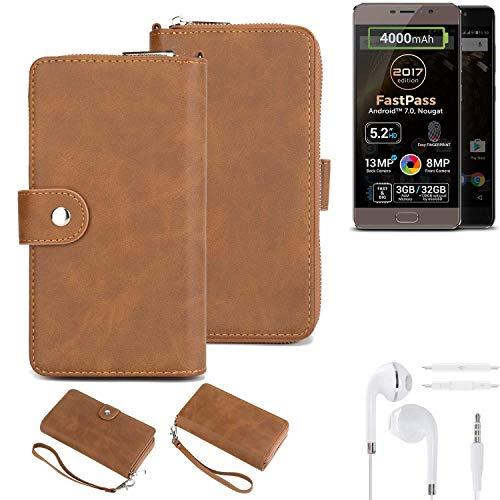 K-S-Trade Handy-Schutz-Hülle Für Allview P9 Energy Lite (2017) + Kopfhörer Portemonnee Tasche Wallet-Hülle Bookstyle-Etui Braun (1x)