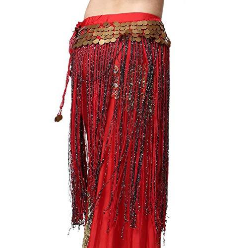 CHENTAOCS 2018 Nieuwe Tribal Buik Dans Kleding Gypsy Kostuum Accessoires Lange Kwastje Hip Sjaal Buik Dans Hip Rokken Munten Riem Eenvoudig te gebruiken A