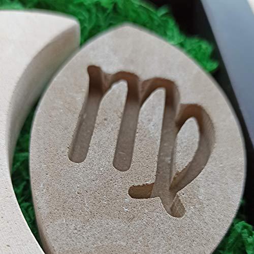 Jungfrau Sternzeichen Teelicht Kerzenhalter aus Stein - Handgemacht in Italien - Box, Teelicht Kerze und Nachrichtenkarte enthalten - Geschenkidee Geburtstag August September - Sternzeichen Erde
