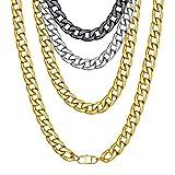 ChainsHouse Fashion Curb Chain Grande Cadena Estilo Cuba,15mm Ancho 22 pulgadas/55cm Largo,con Caja de Regalo -Acero Inoxidable Chapado en Oro Chapado en Negro