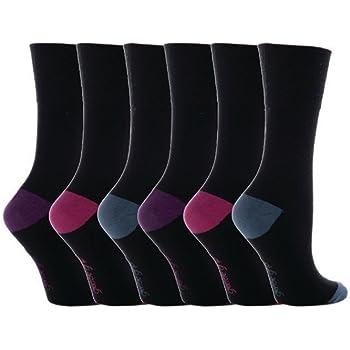 UK 4-8 6 paia Ladies SockShop Cotton Gentle Grip EUR 37-42 Calze