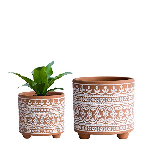 Set of 2 Planter Pots, 4.4 Inch & 6.4 Inch, Wave Pattern Ceramic Plants Pot with Drainage Hole, Terracotta/White