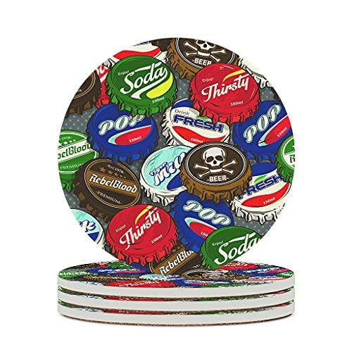 Wraill Posavasos redondos, tapón de botella de cerámica, juego de 4/6 piezas, posavasos absorbentes con dorso de corcho, para tazas, mesa, bar, cristal, blanco, 6 unidades