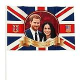 Toyland® Set von 5 Prinz Harry & Meghan Markle Gedenk Königliche Hochzeit 2018 Flaggen auf Sticks