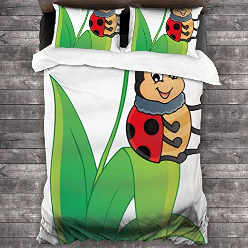 Duvet cover bedding Set,Image With Ladybug Theme,3 Piece Set bedding with 2 pillowcases,SuperKing(220 * 260cm)