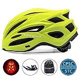 VICTGOAL Casco Bicicleta Adulto Unisexo para Ciclismo MTB Road Race Montaña Casco con Luz Trasera LED Visera Extraíble Hombres Mujeres Adultos Casco (Amarillo)