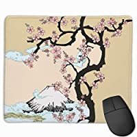 マウスパッド 日本の富士山 さくらの木 Mousepad ミニ 小さい おしゃれ 耐久性が良 滑り止めゴム底 表面 防水 コンピューターオフィス ゲーミング 25 x 30cm