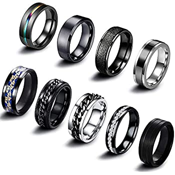 EIELO 9Pcs Stainless Steel Band Rings for Men Women Cool Fidget Spinning Chain Ring Anxiety Relief Fashion Simple Wedding Engagement Black Ring Set