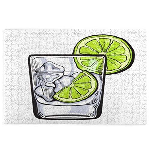 DKISEE Puzzles en bois marron citron vert - Gin vodka soda eau glace nourriture boisson alcool alcool tequila esquisse bar fête 300 pièces - Jeu éducatif classique pour les adultes