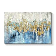 TAR TAR STUDIO Abstract Painting Canvas Wall Art: Blue Picture Hand Painted Artwork for Bedroom (36''W x 24''H, Multiple Sizes)