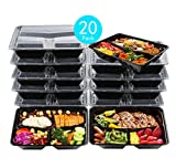 Meal Prep Food Containers 32 oz (20 Pack), Sable 3 Compartment Bento Lunch Boxes, Reusable Orga…