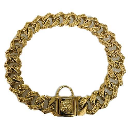 Youyababay Cadena De Oro 32MM Collar De Perro, Collares para Mascotas Entrenamiento, Acero Inoxidable para Trabajo Pesado Cuban Link, Collar De Bully Pitbull, Dogo,32mm*55CM
