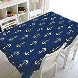 XXDD Ancla náutica Azul Marino Rayas Blancas decoración del hogar Mantel Marino océano Mantel Cuadrado Rectangular A2 140x180cm