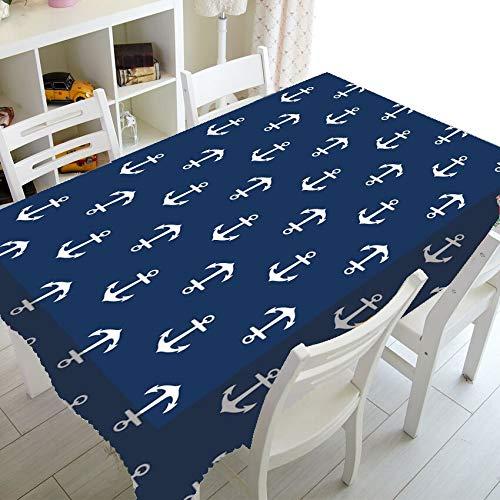 XXDD Ancla náutica Azul Marino Rayas Blancas decoración del hogar Mantel Marino océano Mantel Cuadrado Rectangular A2 140x210cm