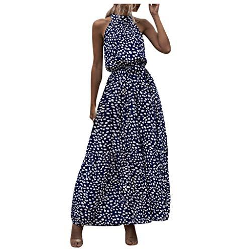 Xuthuly Frauen Sexy Elegant Blumendruck Halfter Party Kleid Süße Kalte Schulter Plissee Urlaub Langes Kleid Strand Sommerkleid