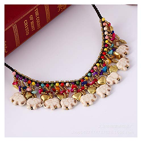 xiaofeng214 Short retro Elephant Necklace Ethnic Turquoise beach accessories (Color : White)