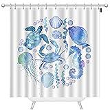 TKS MITLAN Ocean World Duschvorhänge für Badezimmer Schildkröten, Krabben, Muscheln, Quallen, Blau W&erbar Meeresboden Polyester Wasserdicht Duschvorhang mit Haken 72 x 72 Zoll