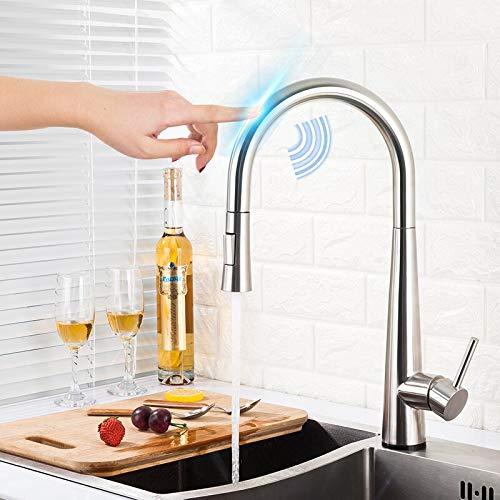 Grifo Grifos de cocina de control táctil con sensor inteligente, mezclador de acero inoxidable dorado, grifo táctil dorado para grifos de fregadero extraíbles de cocina
