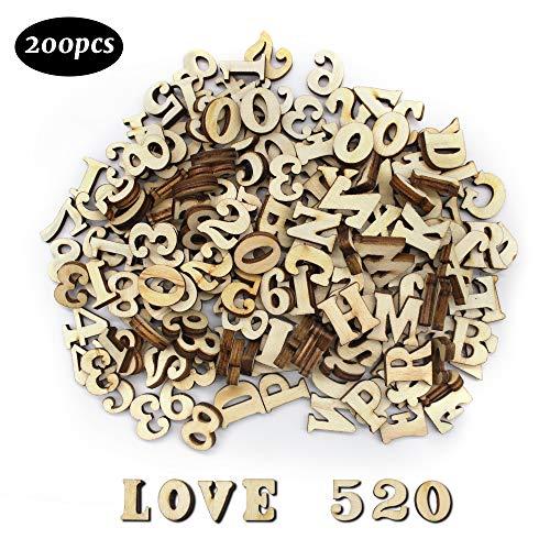 Dylan-EU 200 Stück Hölzerne Großbuchstaben und Holznummern Holzspielzeug für DIY Handwerk Wohnkultur Frühkindliche Bildung