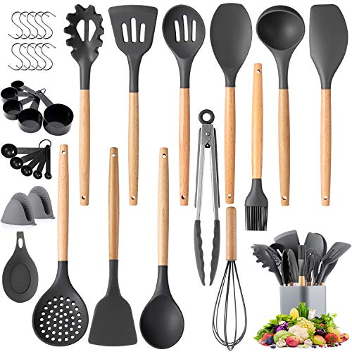 Kitchen Cooking Utensils Set, Senbowe 36 pcs Non-stick Silicone Cooking Kitchen Utensils Spatula Set with Holder,Wooden Handles, Non Toxic Silicone Turner Tongs Spoon Kitchen Gadgets Utensil Set