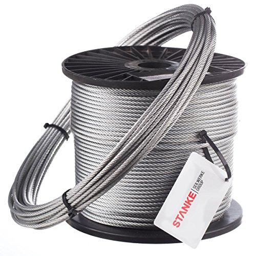 Seilwerk STANKE Drahtseil 4mm 6x7 verzinkt Drahtseil für Zaun Stahlseil Forstseil DIN Seil Draht, 80m