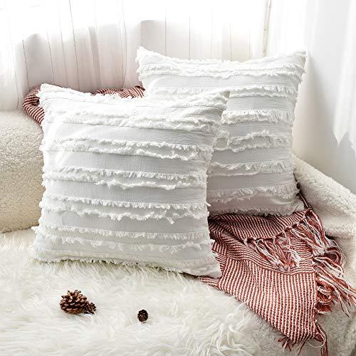 UMI. by Amazon 2er Set Kissen Kissenbezüge, 45 x 45cm Cotton Kissenbezug,Weich Bequem, Für Autos Wohnzimmer Schlafzimmer Dekor, 18