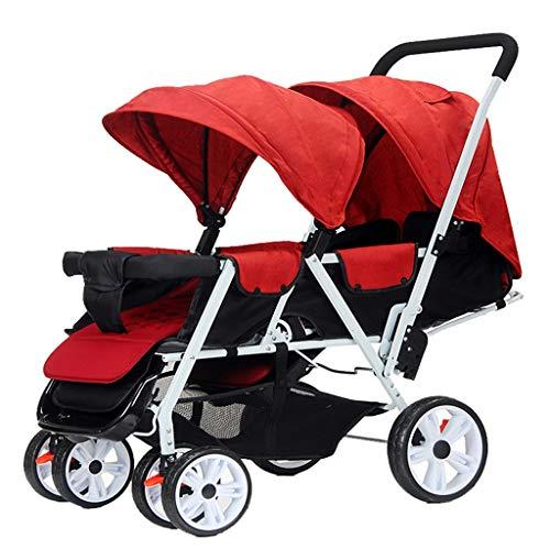 ダブル赤ちゃんベビーカー、ツインベビーカーベビーカーは、フロントとリア席、簡単に店Aセカンドベビーカー、軽量ダブルベビーカーで折り畳むことができます (Color : B)