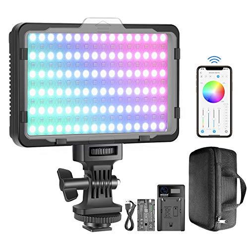 Neewer RGB-Videolicht mit APP-Steuerung, 360° Farb LED Kameralicht CRI95 + Dimmbar 3200K-5600K, 9 Lichtszenen mit 2600mAh Akku und Ladegerät für YouTube DSLR Kamera Camcorder Fotobeleuchtung
