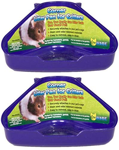 Ware 2 Pack of Corner Litter Pans for Hamsters Gerbils and Dwarf Hamsters,...