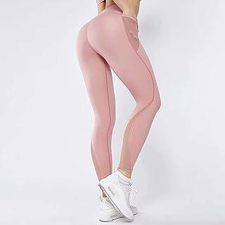 Mesh Yarn Stitching Nylon High Waist Hips Sports Tight Pants Yoga Sports Pants Women,Pink,XL