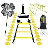 InLoveArts Speed Ladder Training Set, Agility Ladder Set, Ejercicio de Entrenamiento Personal y Fuerza, Incluye Escalera ágil, paracaídas, 24 Conos de Disco, 5 barandillas Ajustables, 4 Clavos