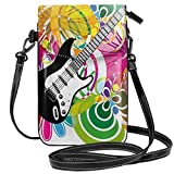 Jiger Women Small Cell Phone Purse Crossbody,Hawaiian Abstract Composition With Colorful Leaves And Guitar Instrument