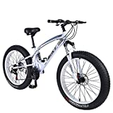 ibiky 26 inch Mountain Bike,Hybrid Fat Tire Snow Bicycle with 21 Speed...