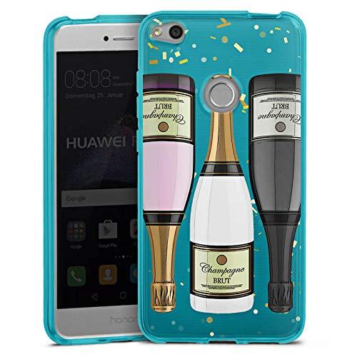 DeinDesign Silikon Hülle transparent hellblau Case Schutzhülle für Huawei P8 Lite 2017 Champagner Flasche ohne Hintergrund