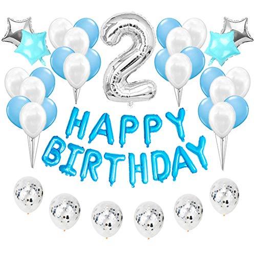 Feelairy 2. Geburtstag Dekoration Blau 2st Geburtstag Party Deko Set, Riesen Folienballons Zahl 2, Happy Birthday Girlande Ballons, 2. Geburtstagsdeko Party Supplies für Mädchen Jungen
