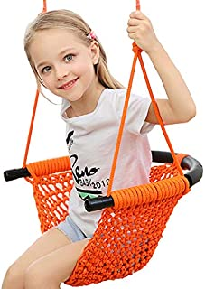 Arkmiido Kids Swing, Swing Seat for Kids with Adjustable Ropes, Hand-kitting Rope Swing Seat Great for Tree, Indoor, Playground, Background (Orange)