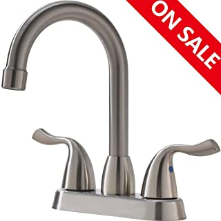 Hotis Commercial Two Handle Stainless Steel Bathroom Faucet,Bathroom Sink Faucet Without Pop-Up Drain …