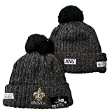 LIEOAGB Football américain Hat Saints Hiver Knitting Bonnet Cap Rugby Chaud Chapeaux d'hiver Black-One Size