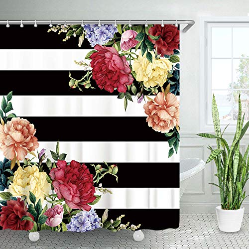 LIVILAN Black White Stripe Peony Shower Curtains with 12 Hooks, Floral Shower Curtain, Waterproof Fabric Bath Curtain, Home Bathroom Decoration , 72