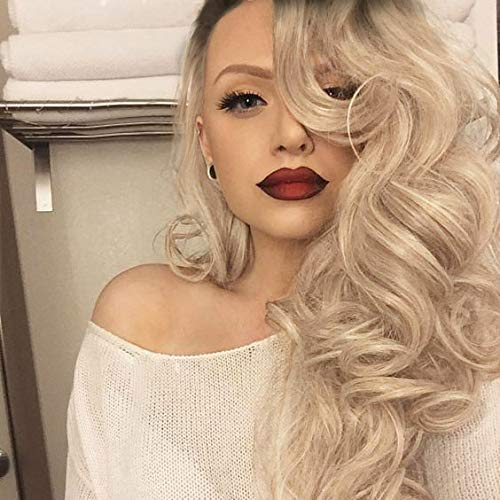 """AIDUSA Long Wavy Wigs Black to Blonde Long Big Weave Hair Wigs for Women Ash Blonde Synthetic Wigs 28"""" (Black to Ash Blonde)"""