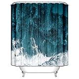 Aeici Duschvorhänge 180X200CM Marmor Polyester Duschvorhänge Extra Breit Blau Grün Duschvorhang für Badezimmer