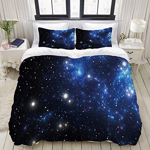 LASINSU Funda De Edredón,Constelación Espacio Exterior Nebulosa Estelar Cúmulo Astral Astronomía Tema Galaxia Misterio,3 Pcs Ropa de Cama Funda Nórdica Sábana Bajera (200 * 200CM)