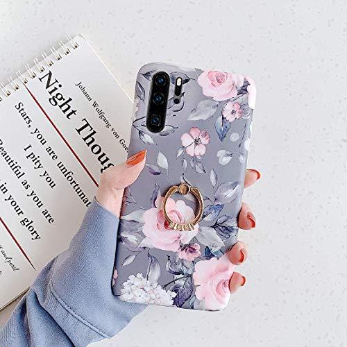 Herbests Kompatibel mit Huawei P30 Pro Hülle mit Ring Halter Ständer Handyhülle Blumen Blätter Muster Weiche Silikon Case Stoßfest TPU Handyhülle Crystal Case Ultradünn Hülle,Blumen Grau