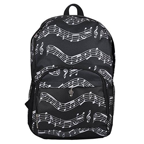 Punk Oxford-Rucksack mit Musiknoten-Druck für die Schule, stilvoller Kunstrucksack, Reiseumhängetasche Musical notes patterns black